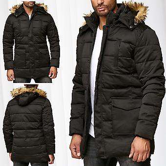 Mens Parka Winter Jacket Coat Lined Warming Coat Fake Fur Hood Outdoor Jacket