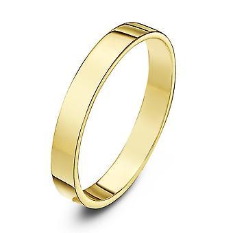 Star Wedding Rings 9ct Yellow Gold Heavy Flat Shape 3mm Wedding Ring