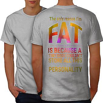 Funy Fat Happy Men GreyT-shirt Back | Wellcoda