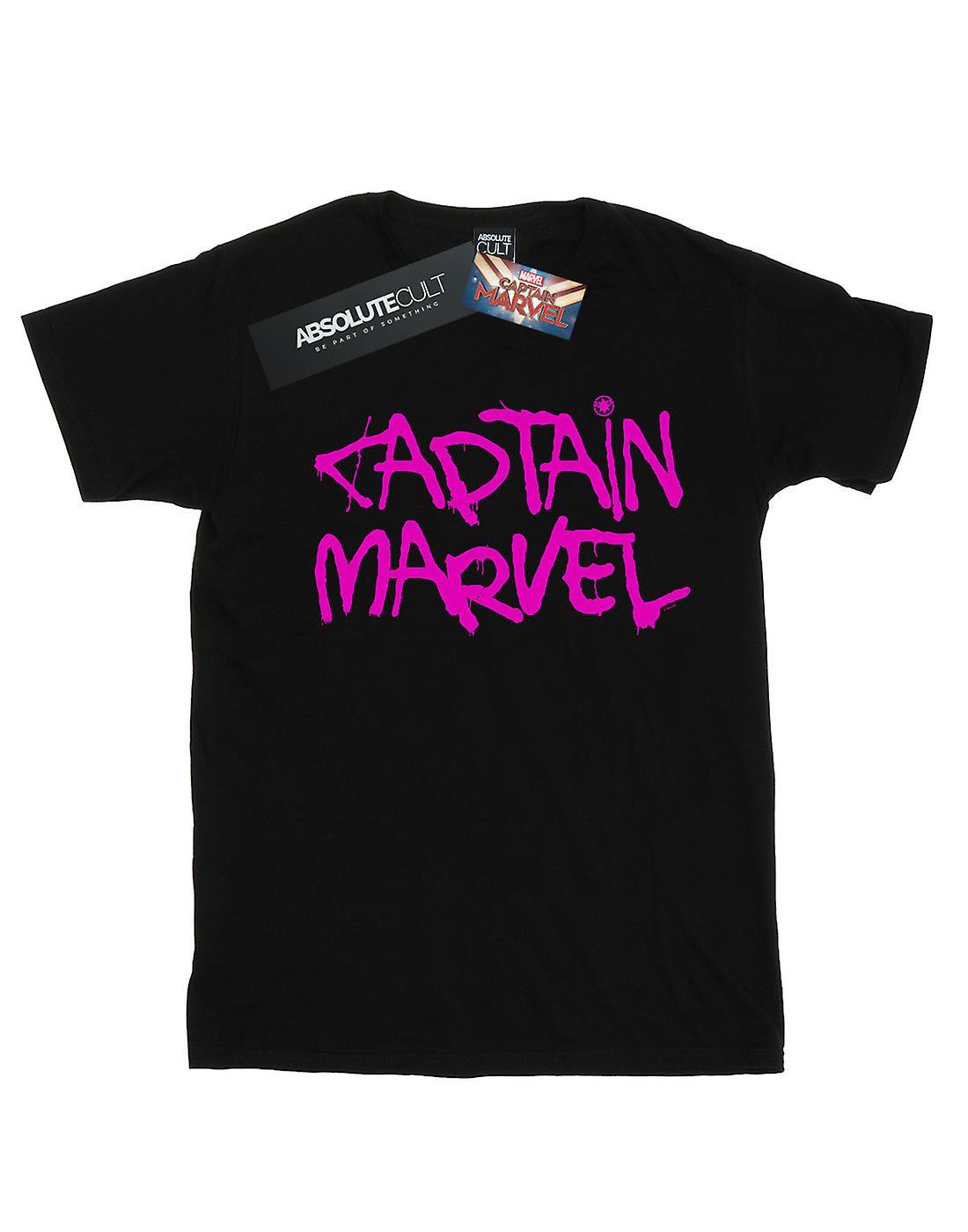 Marvel Women's Captain Marvel Spray Text Boyfriend Fit T-Shirt