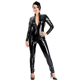 Honour Women's Sexy Catsuit PVC Black High Glossy Neck &Longsleeved Outfit