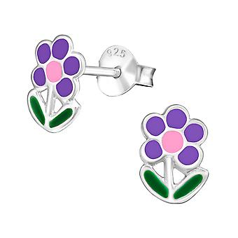 Flower - Epoxy Colour + 925 Sterling Silver Colourful Ear Studs - W979x