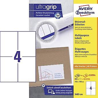 Avery-Zweckform 3483-200 Labels 105 x 148 mm Paper White 880 pc(s) Permanent All-purpose labels Inkjet, Laser, Copier 220 Sheet A4