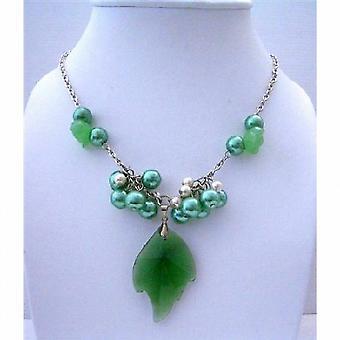 Joyería de moda colgante hoja Esmeralda simulado collar de cristal