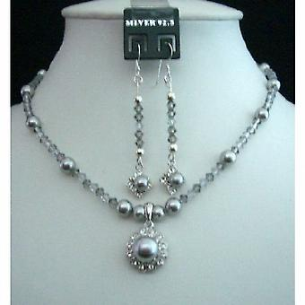 Grey Tone Swarovski Grey Pearls & Crystals Pendant Necklace & Earrings