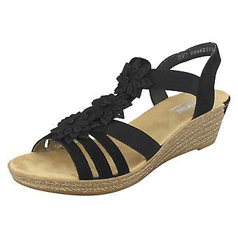 Sandalias de cuña de las señoras flor Rieker detalle 62461