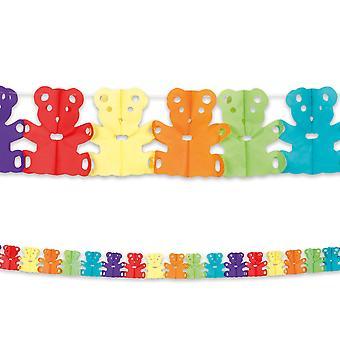 4m Long Paper Garland Bunting Teddy Bear Childrens Party Decoratiom