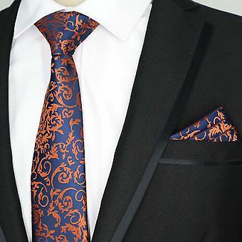 Blå & oransje paisley mønsteret lomme kvadrat & slips sett