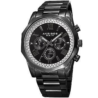 Akribos XXIV uomo Mulifunction Diamond Quadrante bracciale orologio AK999BK