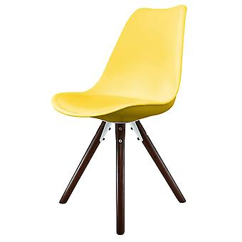 Fusion Living Eiffel Inspired Yellow Plastic Dining Chair With Pyramid Dark Wood Legs