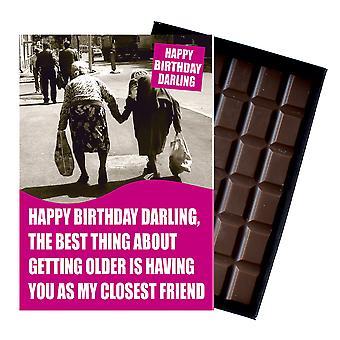 年配の女性年金受給者ボックスチョコレートグリーティングカードプレゼントCDL148のための面白い誕生日プレゼントギフト