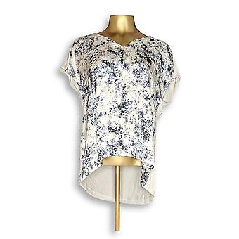 H de Halston Women's Top Printed V-Neck w/ Jersey Knit Back Beige A274543