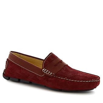 Leonardo Shoes Men's handmade slip-on driving loafers burgundy suede leather
