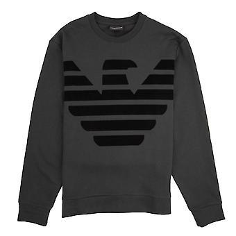 Emporio Armani Eagle Felt Printed Logo Sweatshirt Grigio Ombra