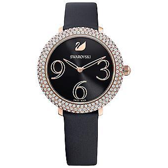 Swarovski Crystal Frost Watch-lederen riem-zwart-Rose-Gold Tone PVD-5484058
