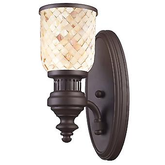 Chadwick 1-light wall lamp in oiled bronze with cappa shell shade elk lighting