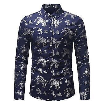 Allthemen menn ' s floral trykt slim fit casual langermet skjorte