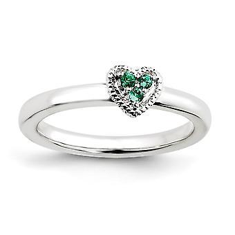 925 Sterling Zilver gepolijst Prong set Rhodium verguld stackable expressies Love Heart Met Gemaakt Emerald Ring Size 9