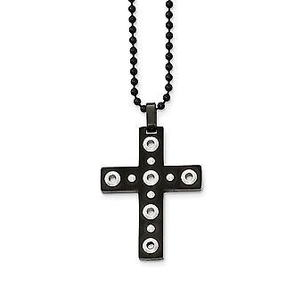 Roestvrij staal geborsteld en gepolijst zwart ip vergulde religieuze geloof cross ketting 22 inch sieraden geschenken voor vrouwen