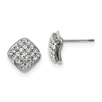 Stainless Steel Polished With Crystal Square Post Earrings Jewelry Gifts for Women