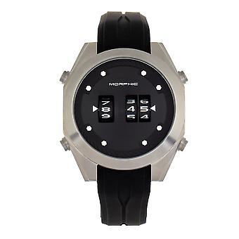 Morphic M76 Series Drum-Roll Strap Watch - Silver/Black