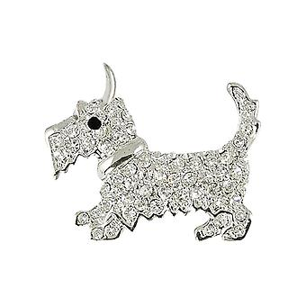 Eternal Collection Hamish The Scottie Clear Crystal Costume Silver Tone Dog Brooch