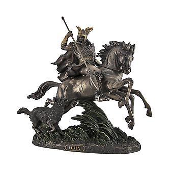 Gebronsd Norse God Odin rijden Sleipner standbeeld