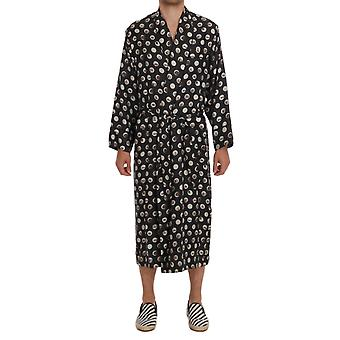 Gray Instrument Print Silk Robe