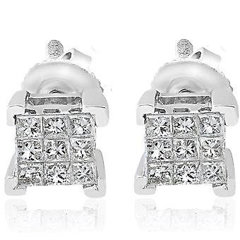 1/3ct Diamond Princess Cut Screw Back Studs Kolczyki damskie 10k Białe złoto 5,5 mm