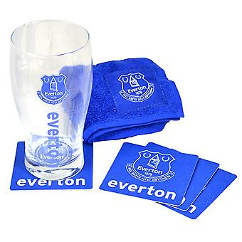 Everton FC Official Wordmark Mini Football Bar Set (Pint Glass, Towel & Beer Mats)