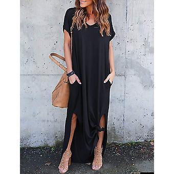 AKEWEI Women Maxi Dresses Summer V Neck Short Sleeve, Solid Black, Size Large