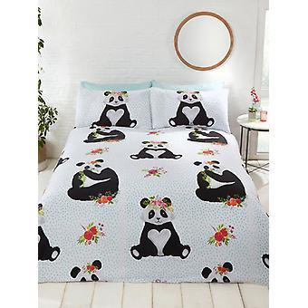 Pandas Doppel Bettbezug und Kissenbezug Set