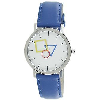 Arysto Bauhaus Unisex Zegarek ze stali nierdzewnej 4D85IB Skóra niebieski