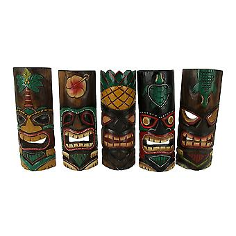 Set of 5 Wooden Tropical Hawaiian Tribal Tiki Masks Home Bar Luau 12 inch Tall