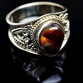 Mexican Fire Agate Ring Size 8 (925 Sterling Silver)  - Handmade Boho Vintage Jewelry RING987051
