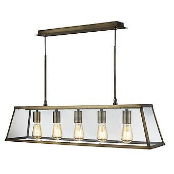 Searchlight Voyager 5 Lanterna Luz Pingente Bar Antique Brass 4614-5AB