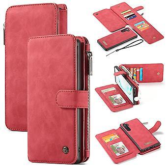 Samsung Galaxy Note 10 kotelo, lompakko PU nahka irrotettava läppäkansi, punainen