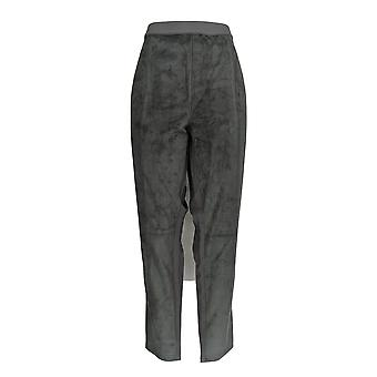 H by Halston Plus Leggings Faux Suede Ponte Knit Granite Gray A269487