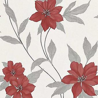 Spring Red Flower Glitter Wallpaper Floral Silver White Textured Vinyl Erismann