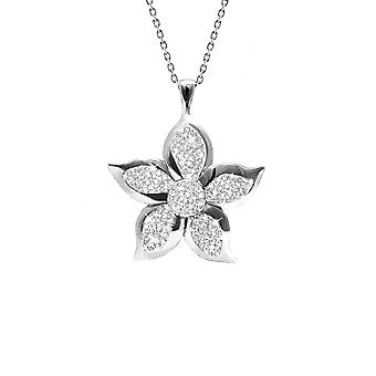 925 Sterling Silver Rhodium Plated 5 Petal Flower Necklace Clear Crystal 18 Inch Jewelry Gifts for Women