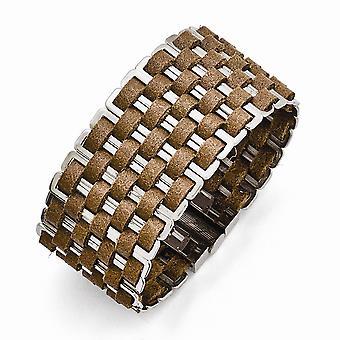 Roestvrij staal magnetische sluiting gepolijst geweven bruin lederen armband 7 inch sieraden geschenken voor vrouwen