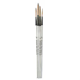 Artmaster Pearl Rigger Watercolour Paint Brush Set of 4 (3/0, 2/0, 0, 2)