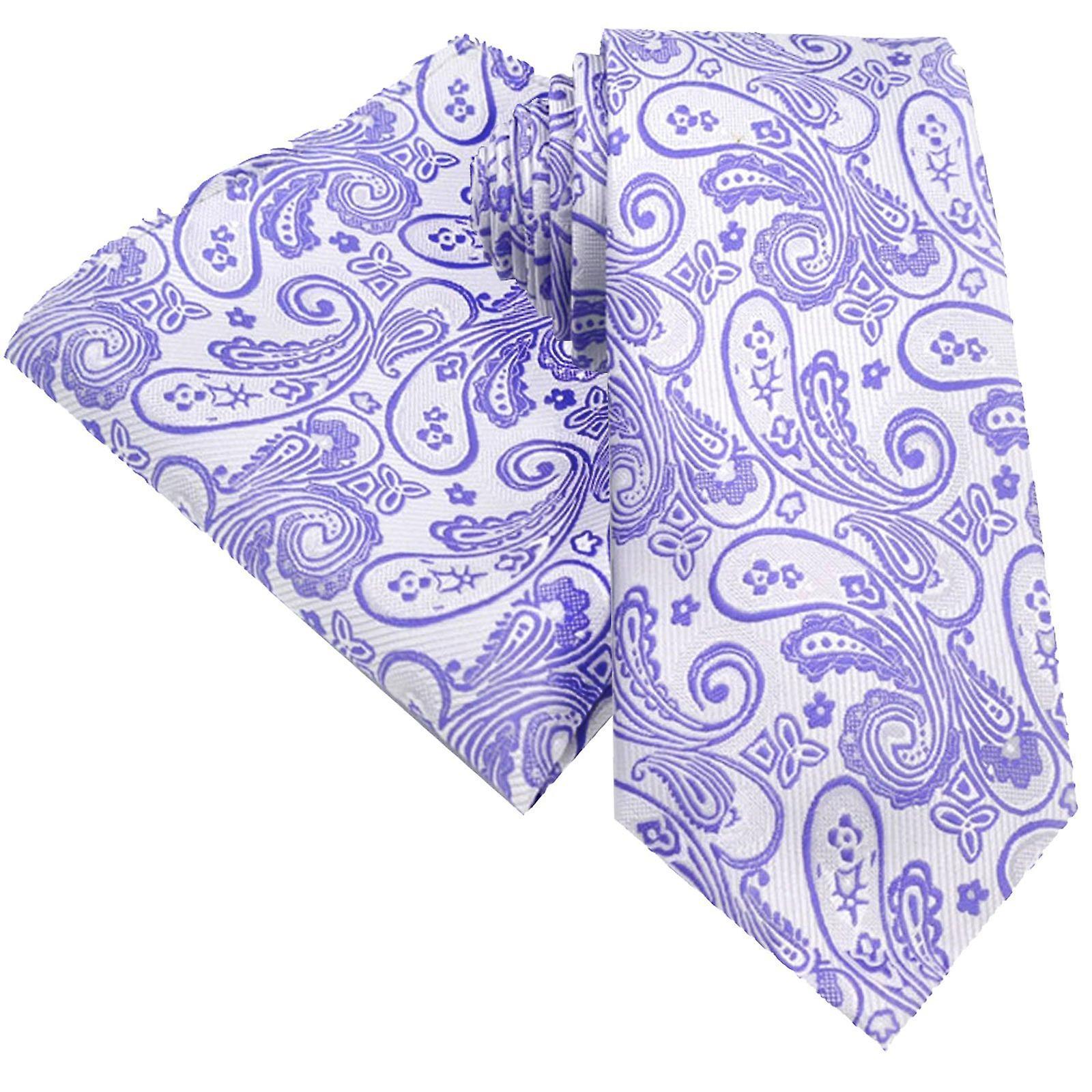 Lilac lavender & purple paisley tie & pocket square set