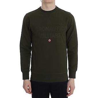 Aeronautica Militare Green Cotton Stretch Crewneck Pullover Sweater