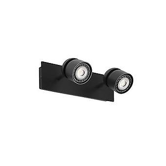 Faro Coco - Twin Spotlight Lampada parete nero 2x GU10 - FARO40665