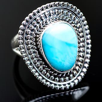 لاريمار خاتم حجم 6.5 (925 الجنيه الاسترليني الفضة) -- اليدوية بوهو خمر مجوهرات RING999092