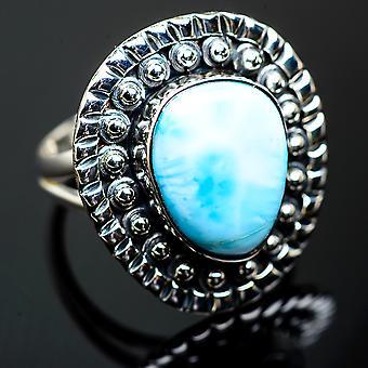 لاريمار رينغ الحجم 7.25 (925 الجنيه الاسترليني الفضة) -- اليدوية بوهو خمر مجوهرات RING999932