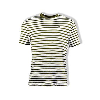 Tommy Jeans Stripe T-Shirt (Uniform Olive/White)