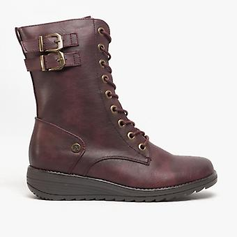Cipriata Nadia Ladies Inside Zip Lace Up Mid Calf Boots Burgundy