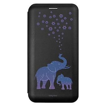 Case voor iPhone 11 Pro Max Black Elephant Pattern Blue